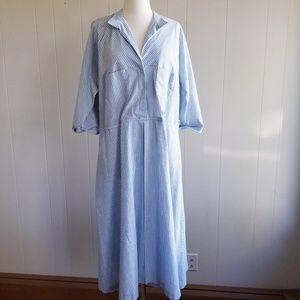 1980s Ilse M. Blue & White Poly/Cotton Dress